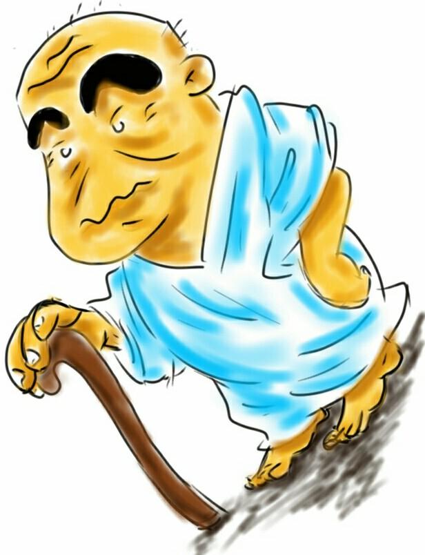 Waktu terus berubah, dan Sinchan pun kini jadi orang tua renta dengan tongkatnya.