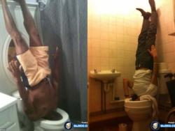 Aksi Kocak Saat Seseorang Terjebak di Kloset Toilet, Duh !
