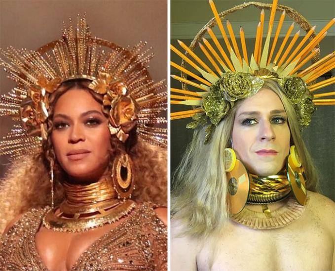 Tiruan busana yang dikenakan oleh Beyoncenya lebih keren ala Tom Lenk nih.