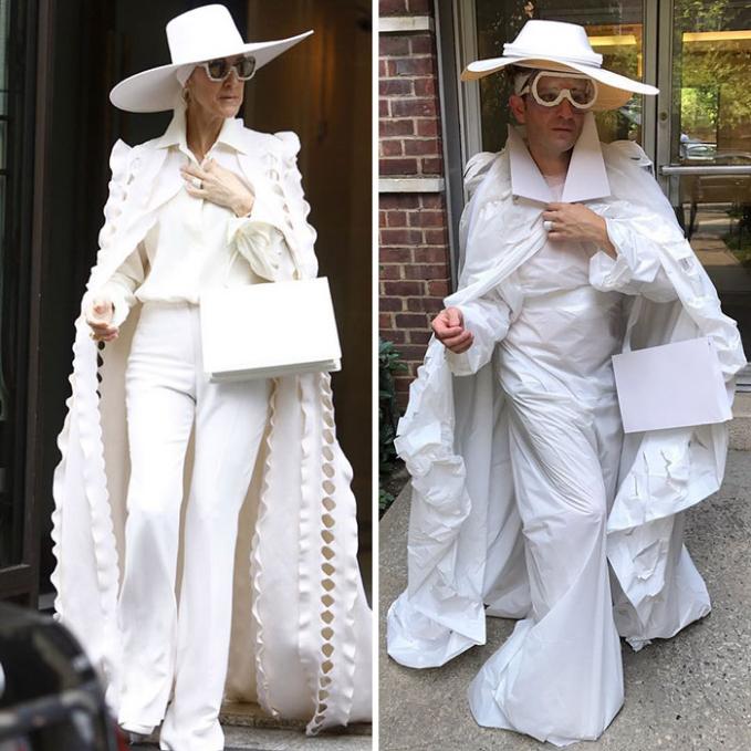 Duh, awas kotor tuh mas dibawa keluar rumah pakaian serba putihnya.