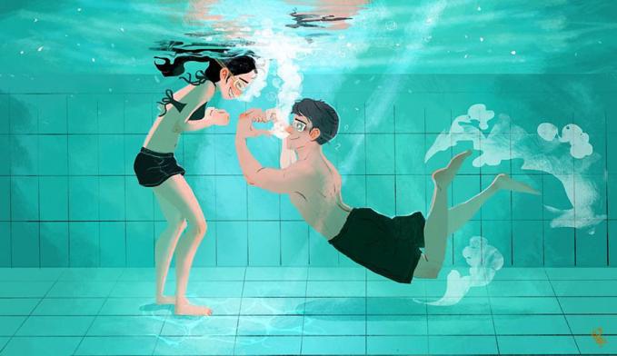 Bikin si doi makin sayang dengan mengungkapkan rasa cinta kapanpun, seperti saat berenang bersama.