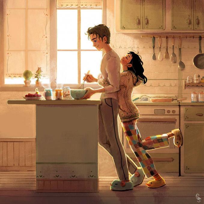 Dan bangun tidur langsung buatin sarapan untuk istri itu rasanya nggak bisa tergantikan gengs. Duh, pasti para jomblo baper pengen nikah nih setelah ngeliat ilustrasi karya Lynn Choi ini?.