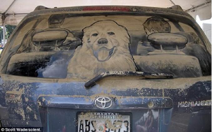 Pengemudi dan anjingnya dalam bentuk lukisan dari debu mobil.