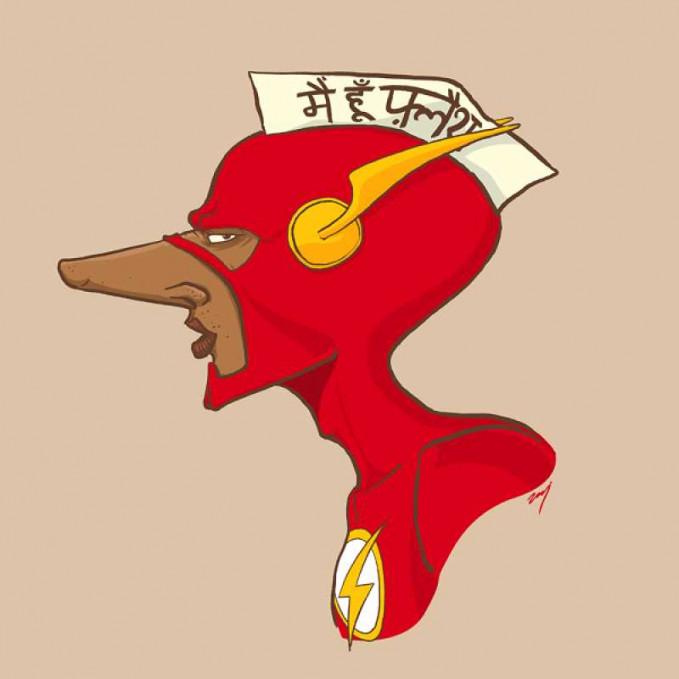 Flash hidungnya bertambah mancung lengkap lengkap dengan memakai topi khas bertuliskan huruf India.