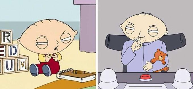 Kalau sosok Stewie Griffn dari serial 'Family Guy' rambutnya nggak malah tumbuh justru menghilang satu per satu.