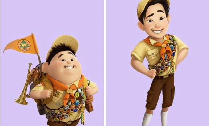 Walaupun udah gede si Russel dalam film 'Up' ternyata tetap masih jadi anak pramuka lho.