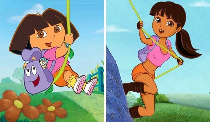 Si Dora udah gede masih suka manjat-manjat tuh Pulsker. Wah, unik juga ya ilustrasi tokoh kartun anak saat mereka beranjak dewasa.