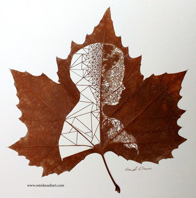 Lukisan siluet seseorang pada daun kering, uniknya lagi tulang daunnya nggak patah lho.