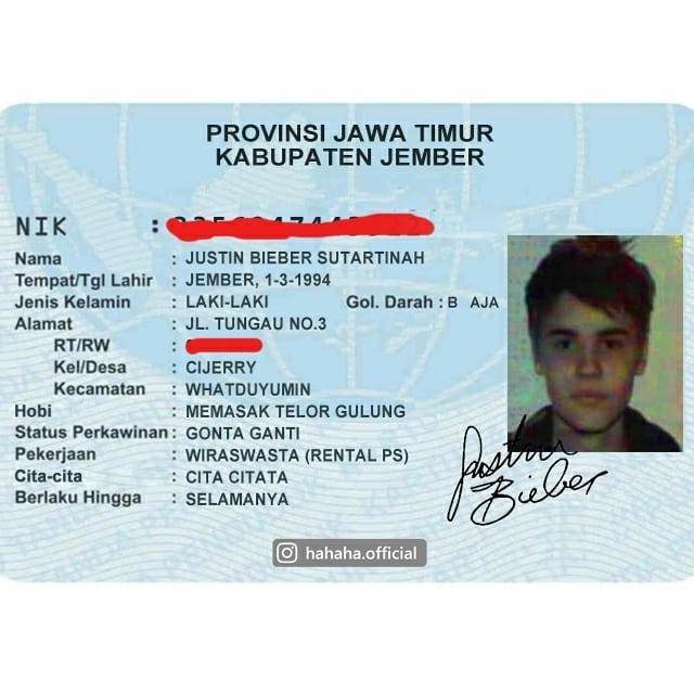 Dan yang bikin kaget, si Justin Bieber konon lahirnya di kota Jember, Jawa Timur.