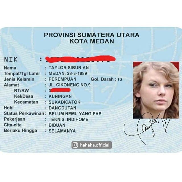Nggak hanya Adele aja yang jadi orang Medan sob, Taylor Swift juga mengubah namanya jadi Medan banget.