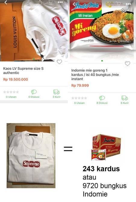 Ibarat harga 1 kaos Supreme sama dengan 9720 box Indomie. Wah..bisa makan Indomie sampai 7 turunan nih.