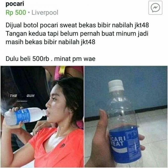 Lumayan juga nih, botol bekas Nabilah JKT48..ada yang mau beli nggak nih?