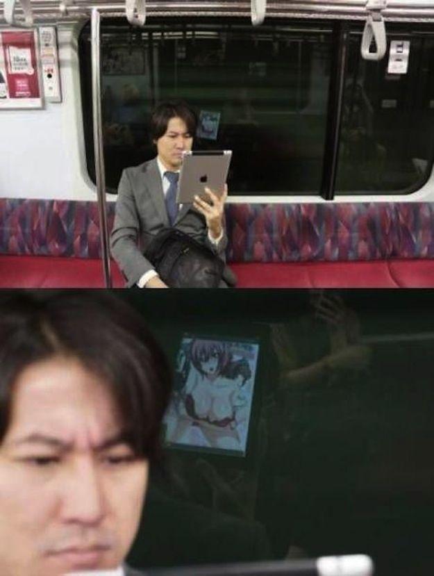 Kirain serius melihat kerjaan, eh.. ternyata si om hobby juga nonton manga.