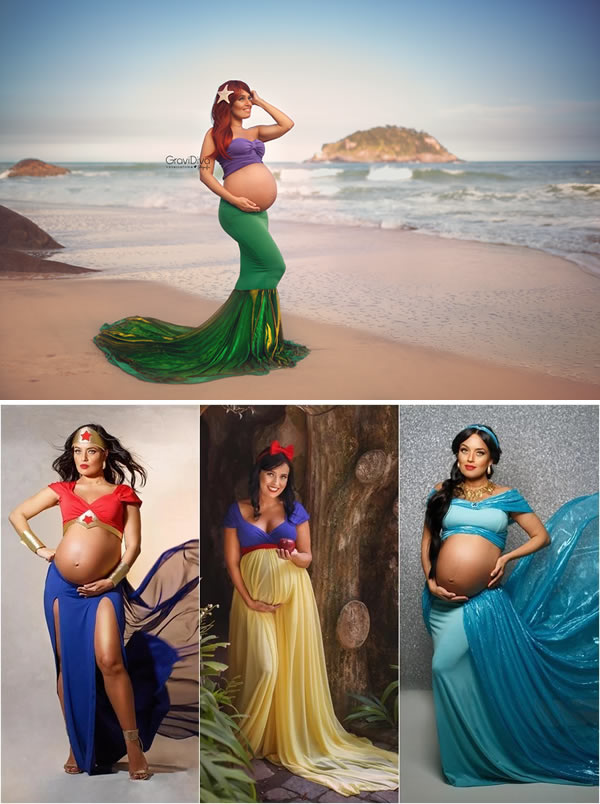 Fotografer asal Brasil, Vanessa Firme mengabadikan foto masa kehamilan para kliennya dengan cara unik Pulsker. Yakni dengan mengenakan kostum ala tokoh putri Disney sampai superhero wanita.