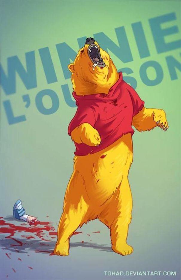 Winnie the Pooh yang biasanya lucu dan menggemaskan berubah jadi sosok beruang ganas pemakan manusia.