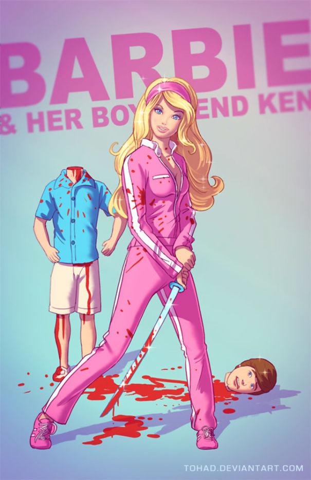 Pun si Barbie bertransformasi jadi gadis jahat Pulsker.