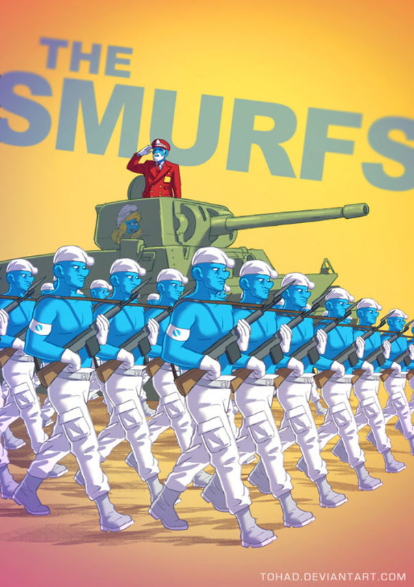 Smurf berubah jadi tentara jahat yang bakalan melawan manusia di bumi.