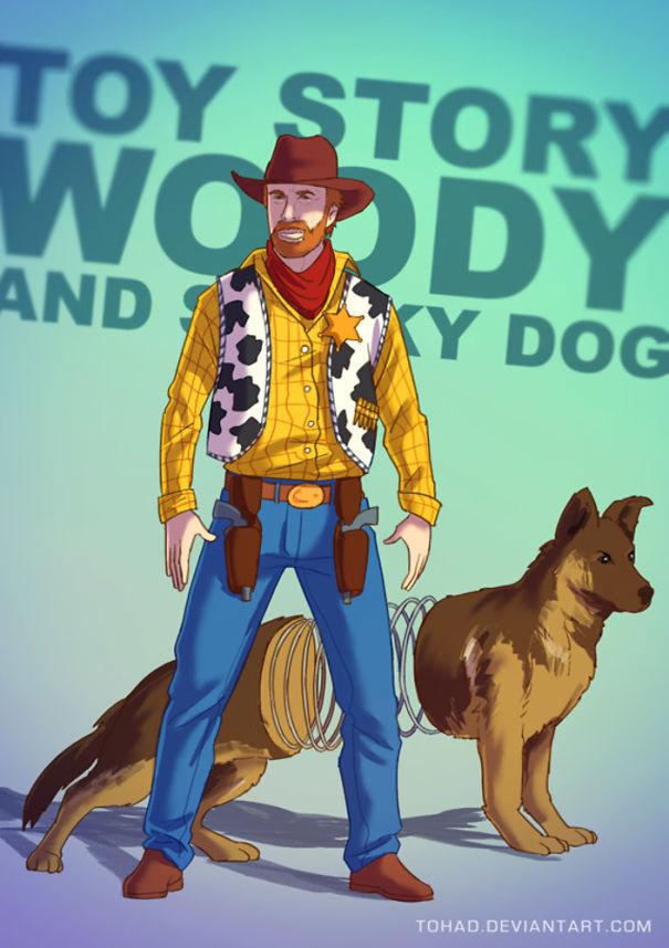 Si Woody dengan anjingnya dari film animasi Toy Story.