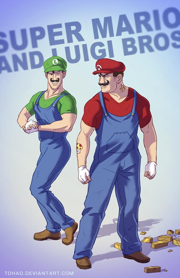 Dua orang bersaudara Mario dan Luigi kini menjadi pria kekar.