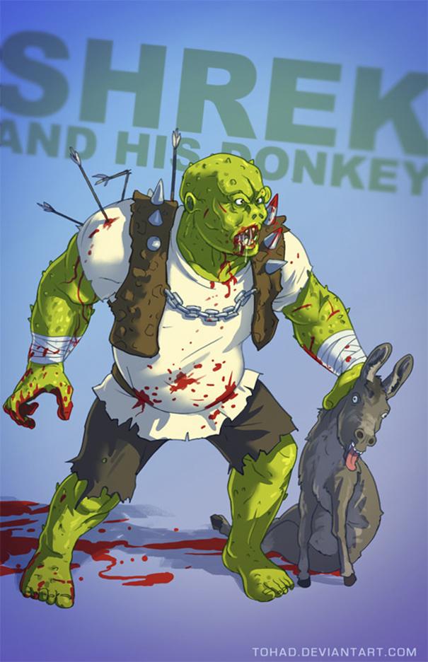 Lah, kalau gini si Shrek malah terlihat mirip Hulk ya?. Itu dia Pulsker kalau tokoh kartun dan animasi berubah jadi monster jahat.