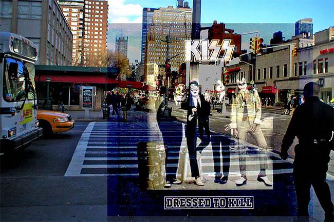 Foto album KISS 'Desert to Kill' yang rilis pada tahun 1975 mengambil tempat di 23rd Street and Eighth Avenue, New York.