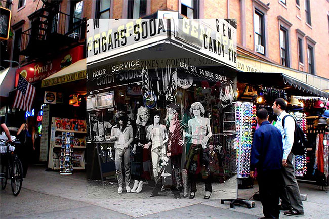 The New York Dolls yang merilis album pada 1973 saat sesi pemotretan di depan Gem Spa, St. Mark's Place and 2nd Avenue.