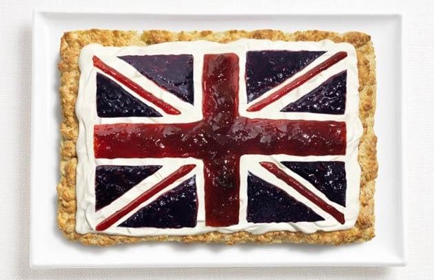 Roti dan selai merupakan makanan paling digemari di Inggris, kini dibentuk jadi gambar bendera.