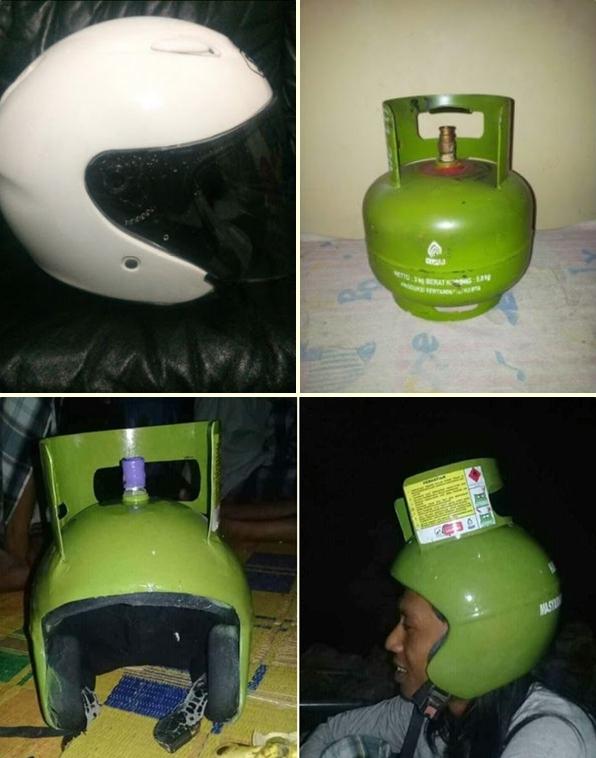 Terinspirasi dari tabung gas elpiji, pria ini membuat helm berarna hijau berbentuk tabung gas gengs.