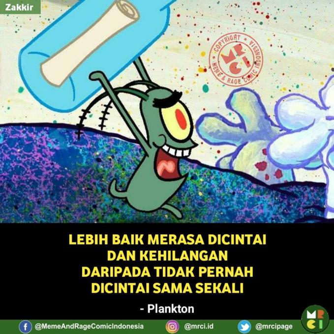 Wah, si Plankton jadi korban perasaan deh kayaknya.