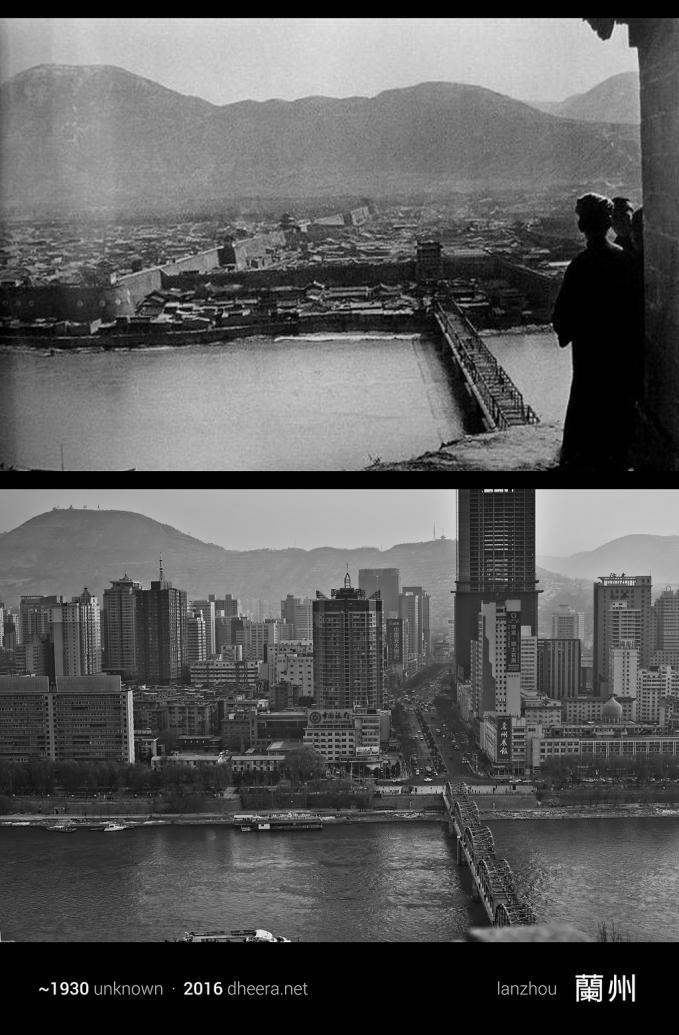 Potret kota Lanzhou di tahun 1930 (atas) dan tahun 2016 (bawah).