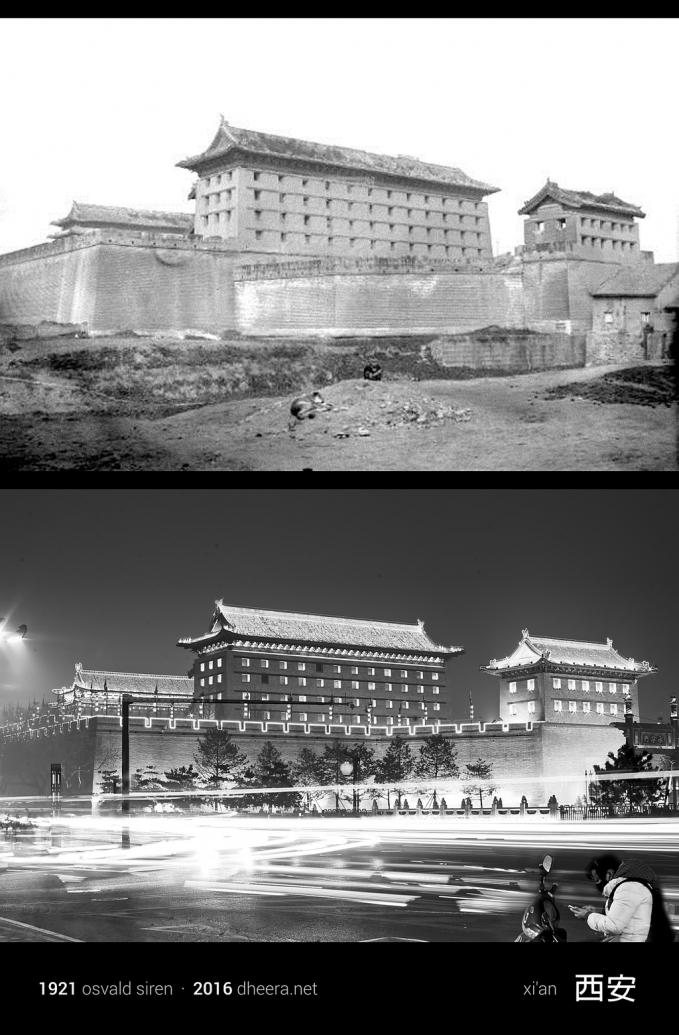 Bangunan megah di kota Xi'an tak mengalami perubahan berarti sejak tahun 1921 dan 2016.