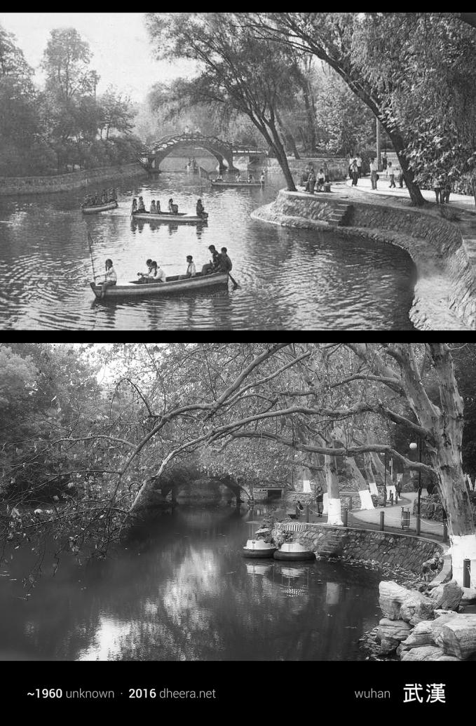 Tahun 1960-an taman di kota Wuhan ramai dikunjungi banyak orang. Sekarang makin sepi aja ya Pulsker.