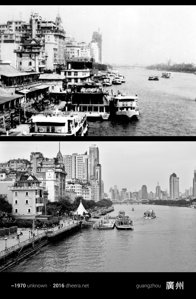 Kota Guangzhou sudah ramai sejak dulu ya Pulsker. Yang atas adalah foto kota tersebut di tahun 1970, sementara yang bawah adalah di tahun 2016.