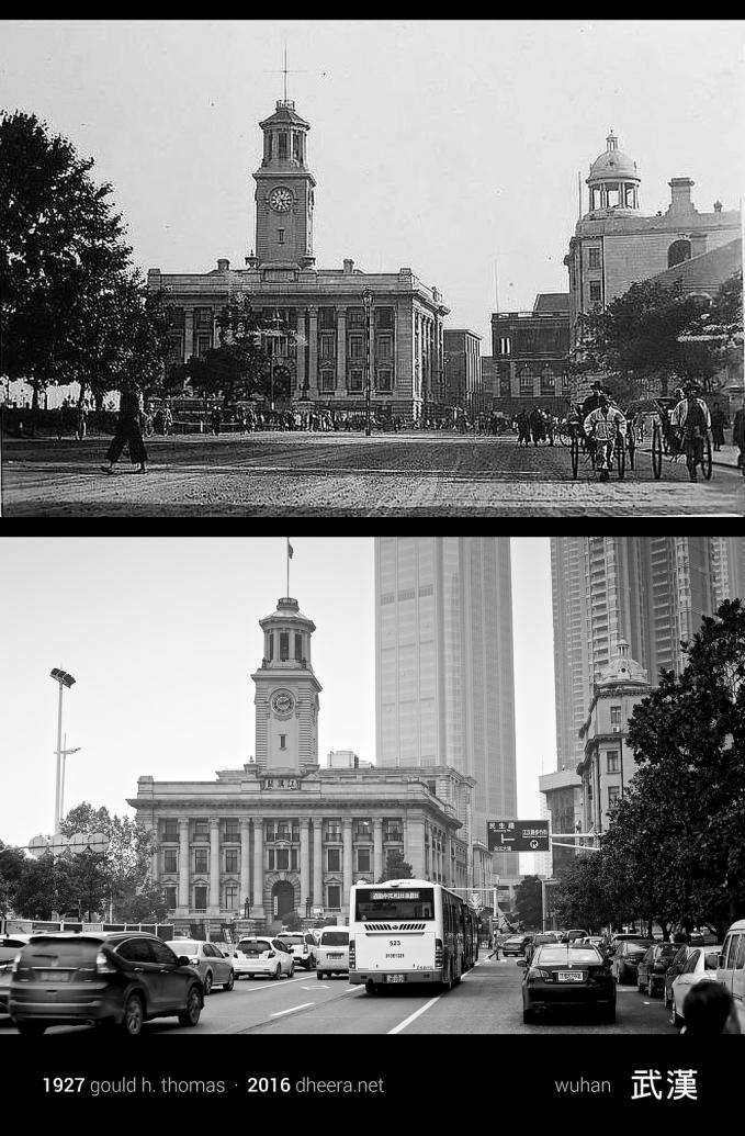Jalanan kota Wuhan tahun 1927 dengan tempat yang sama di tahun 2016.