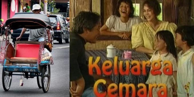 Bukan termasuk kendaraan bermotor sih, tapi becak yang dipakai dalam serial Keluarga Cemara juga menjadi iconic karena satu-satunya alat pencari nafkah Abah.