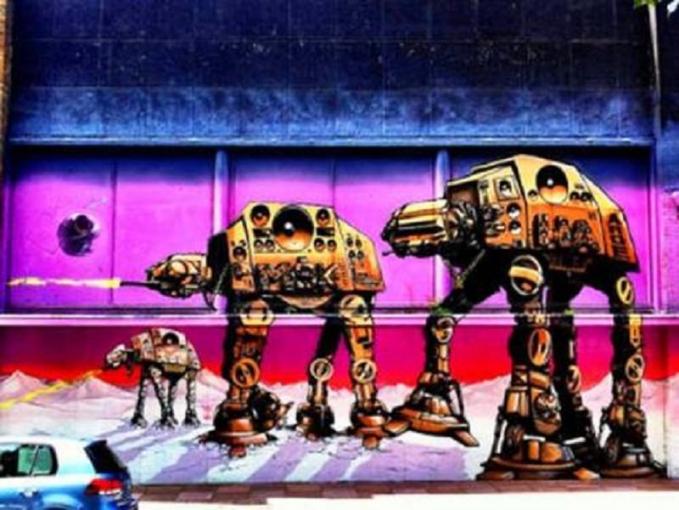Salah satu adegan dalam film Star Wars yang diabadikan lewat karya seni mural.