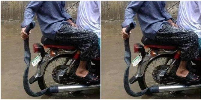 Ini sih namanya tips gokil biar knalpot aman nggak kemasukan air saat banjir sob.