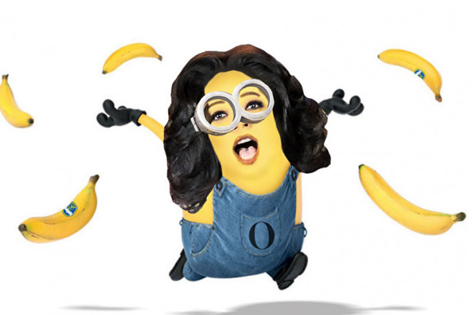 Oprah Winfrey pembawa acara kawakan juga tak luput jadi Minnions nih gengs.