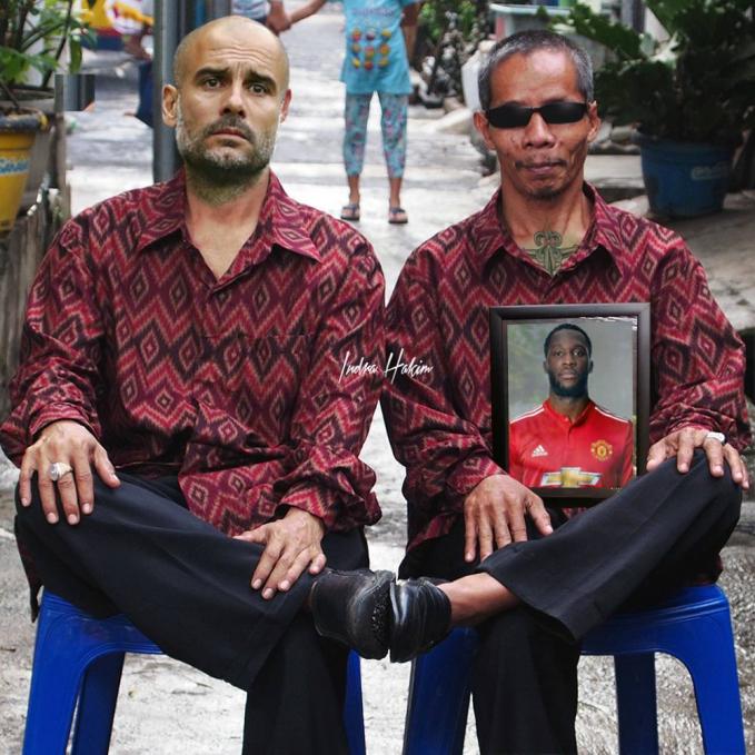 Mumpung lagi free, Pep Guardiola menyempatkan diri datang ke pesta pernikahan kerabatnya di kampung sebelah.