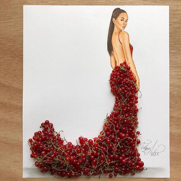 Hmm, sketsa gaun dengan buah ceri berwarna merah terlihat lebih berani dan menantang.