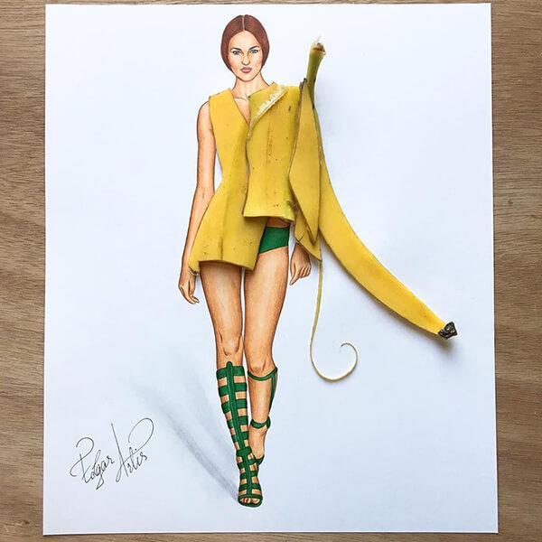 Bahkan kulit pisang yang kerap dianggap nggak berguna bisa jadi sketsa fashion unik lho guys.