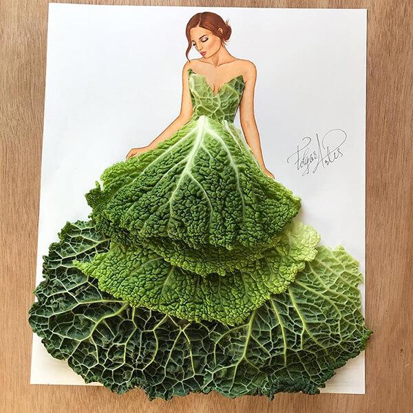 Selain buah, sayuran juga nggak luput dari objek sketsa unik karya Edgar ini Pulsker.