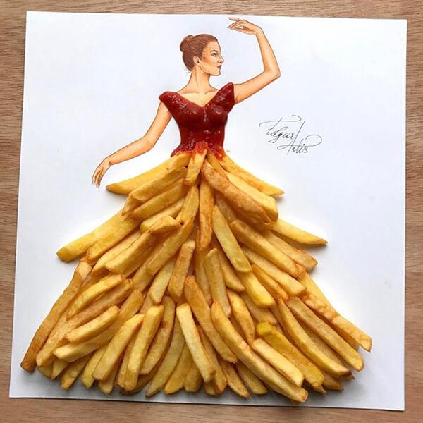 Gini nih kalau desainer kreatif, kentang goreng bisa jadi inpsirasi sketsa gaun menakjubkan.