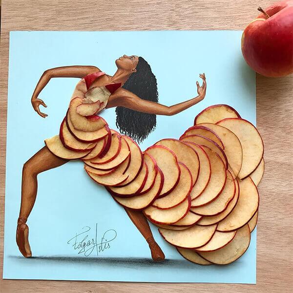Warna kulit penari yang eksotis ditambah warna apelnya yang pas bikin klop banget deh paduannya.