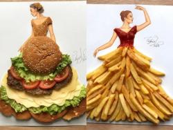 Unik, 10 Sketsa Busana Ini Dibuat Menggunakan Bahan Makanan