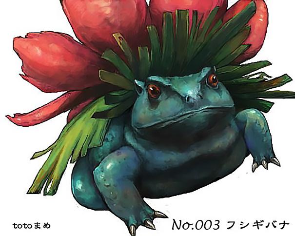 Sementara si Bulbasaur berubah menjadi seekor kodok bangkong berwarna biru.