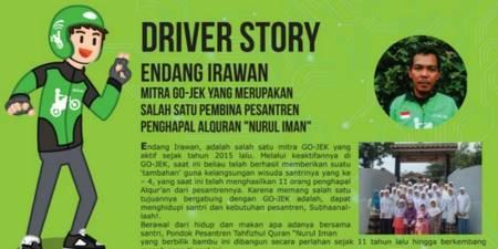 Driver online ini sangat menginspirasi, karena menjadi pembina pesantren dengan jumlah 120 santri dan santriwati.