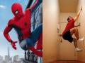7 Aksi Gokil Seseorang yang Meniru Gaya Spiderman
