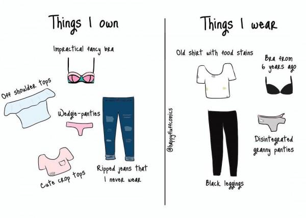 Kalau cewek lain punya banyak outfit yang dia kenakan saat keluar, cewek cuek biasanya cuma pakai kaos dan celana jins. Bener banget pasti nih.