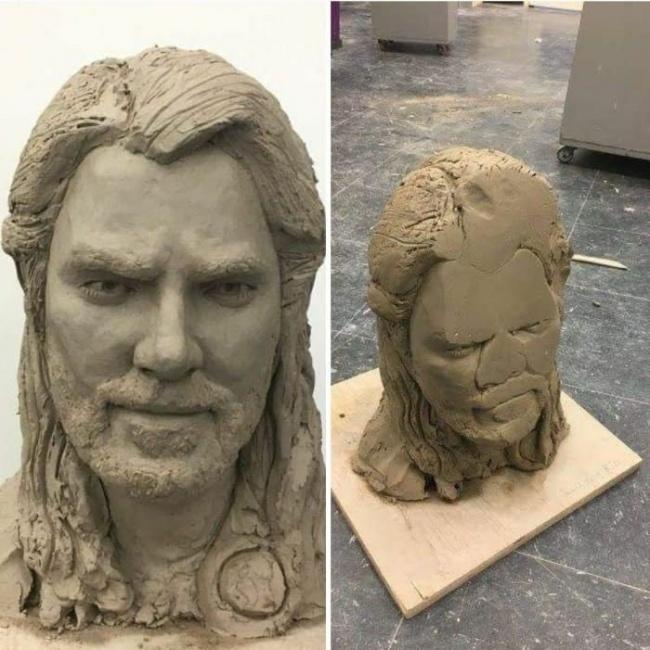Bikinnya patung ini dibelain sampe kurang tidur, eh tiba-tiba patungnya kesenggol dan jatuh. Jadinya gitu deh.